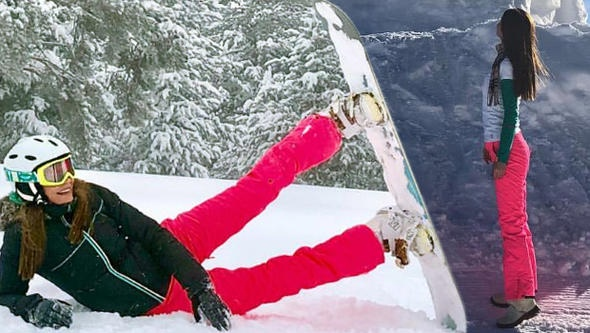 Ebru Şallı karda pilates yaptı!